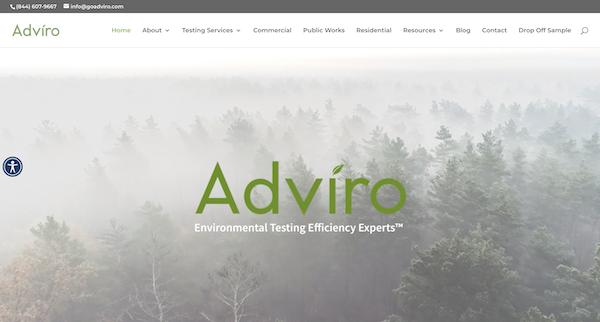 San Jose environmental testing company, Adviro, Website Hompage